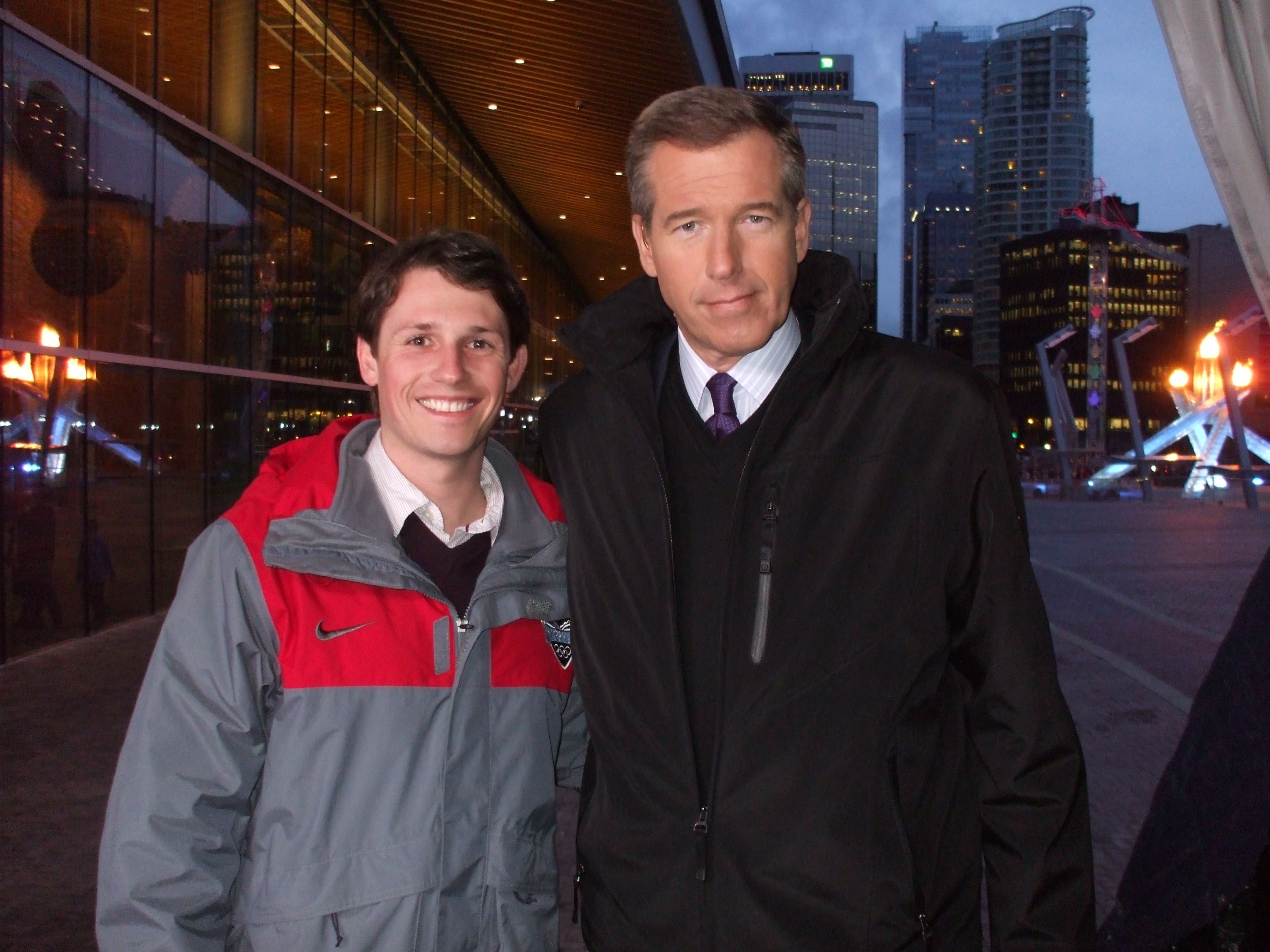 at the olympics chittley brian williams and i on the nbc nightly news set